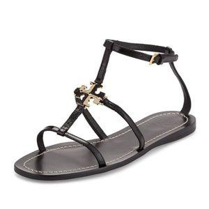 Tory Burch Lowell Logo Flat Thong Sandal in Black